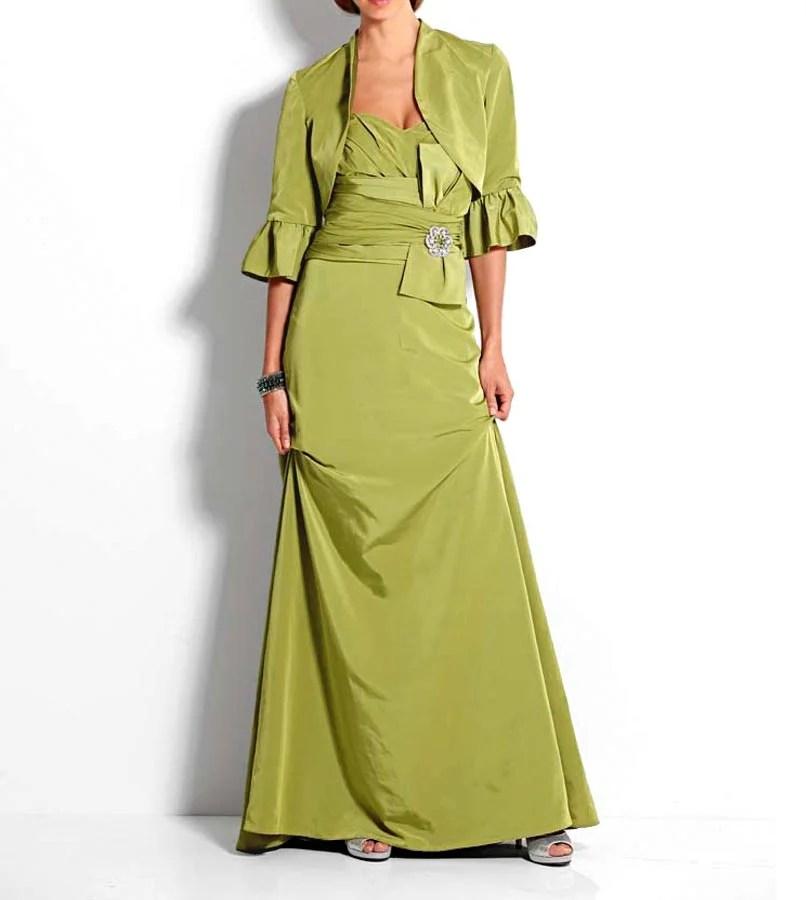Festmoden HEINE Damen Designer-Abendkleid mit Bolero Grün 085.746 Missforty