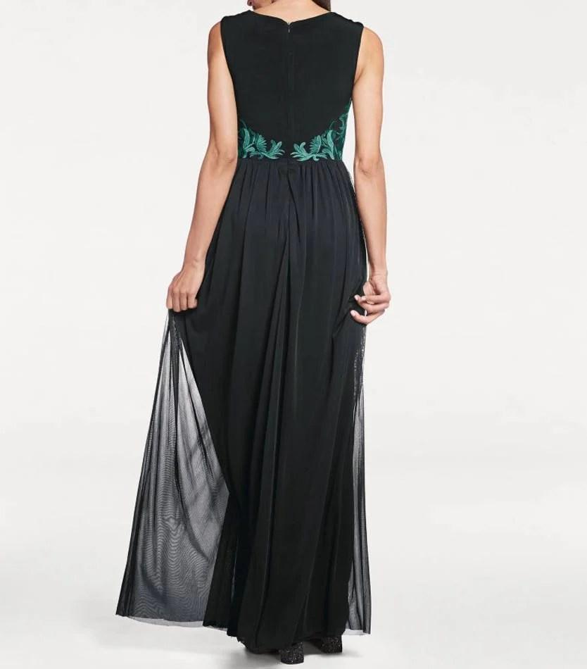 Festmoden ASHLEY BROOKE Damen Designer-Abendkleid Schwarz-Grün 182.870 Missforty