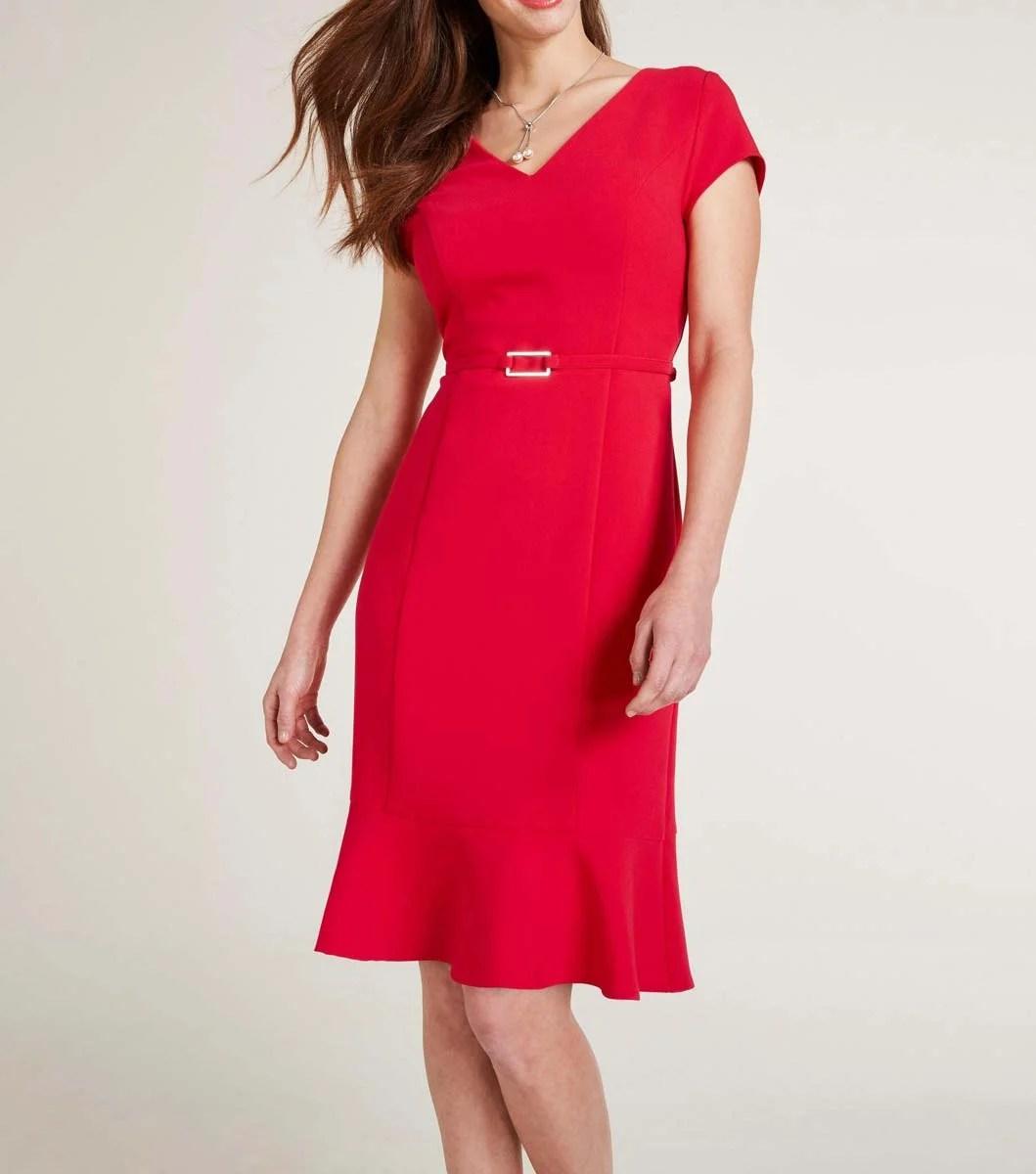 business kleider für damen Ashley Brooke Etuikleid rot mit Gürtel 186.723 Missforty