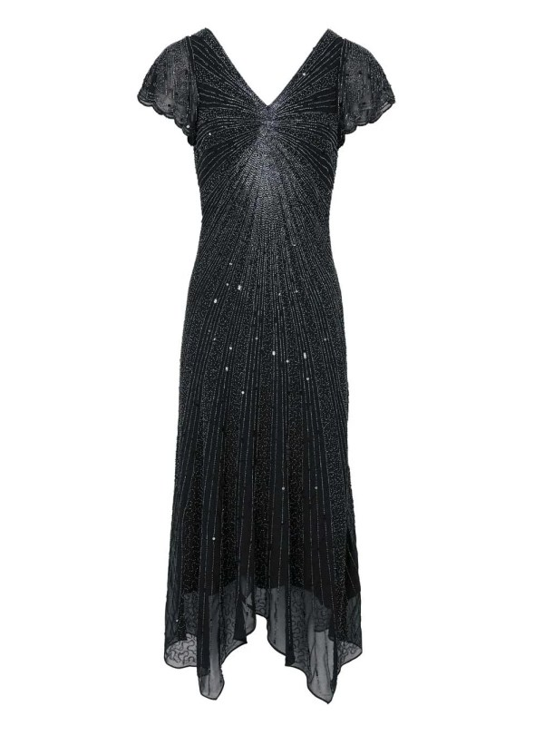 Festmoden ASHLEY BROOKE Damen Designer-Cocktailkleid m. Perlen Schwarz 279.982 Missforty