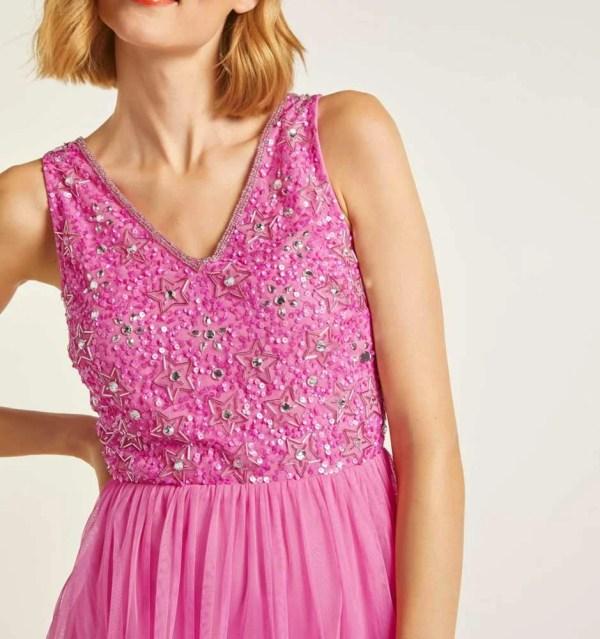abendkleider in übergrößen Heine Cocktailkleid mit Pailletten pink 323.056 Missforty