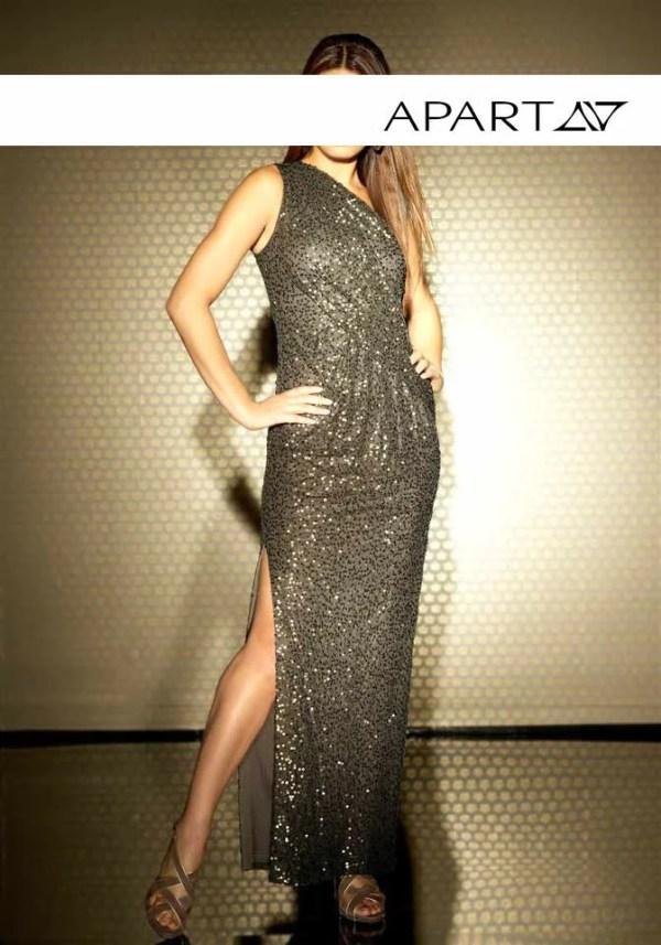 Festmoden APART Damen Designer-Paillettenkleid Khaki 355.563 Missforty