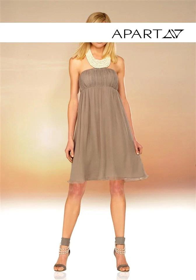 kurzes kleid für besondere anlässe Chiffon-Abendkleid mit Perlen taupe von APART Grösse 40 362.523 Missforty