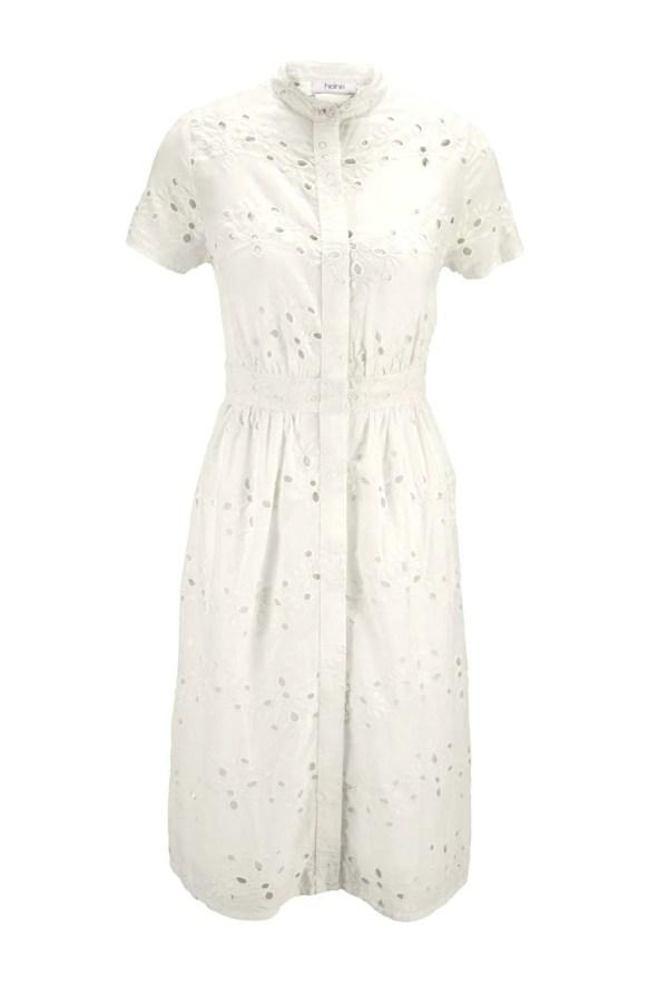 wadenlange kleider für besondere anlässe HEINE Damen Kleid Lochmusterstickerei Offwhite 445.982 missforty