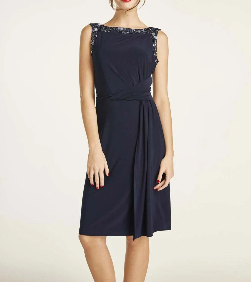 kurzes kleid für besondere anlässe HEINE Cocktailkleid m. Perlen-Stickerei nachtblau 461.887 Missforty
