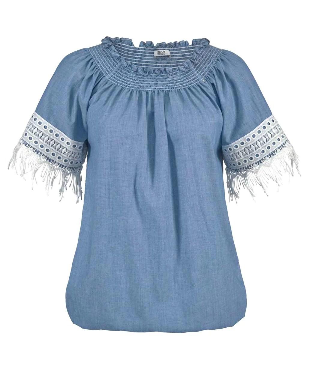 Sale Online | Missforty 518.782 REPLAY Carmenbluse, blau
