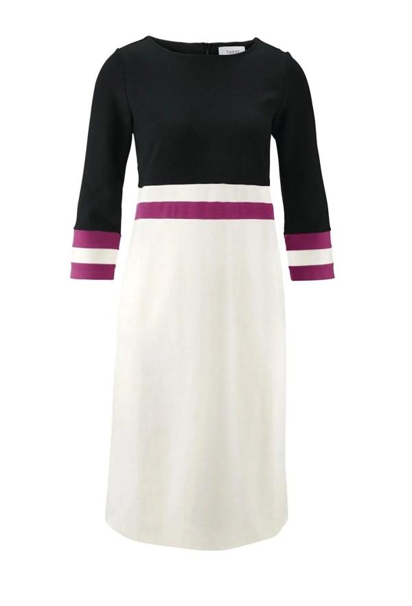 wadenlange kleider für besondere anlässe Heine Jerseykleid schwarz-weiß 525.002 missforty
