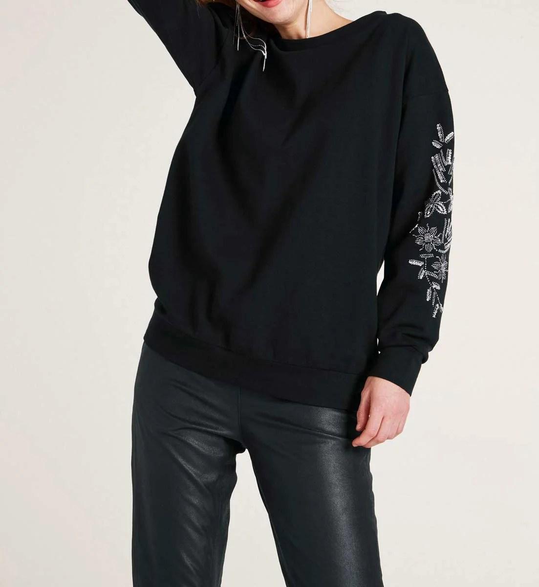 t shirts ohne ärmel RICK CARDONA Damen Designer-Sweatshirt m. Perlen-Stickerei Schwarz 540.675 Missforty