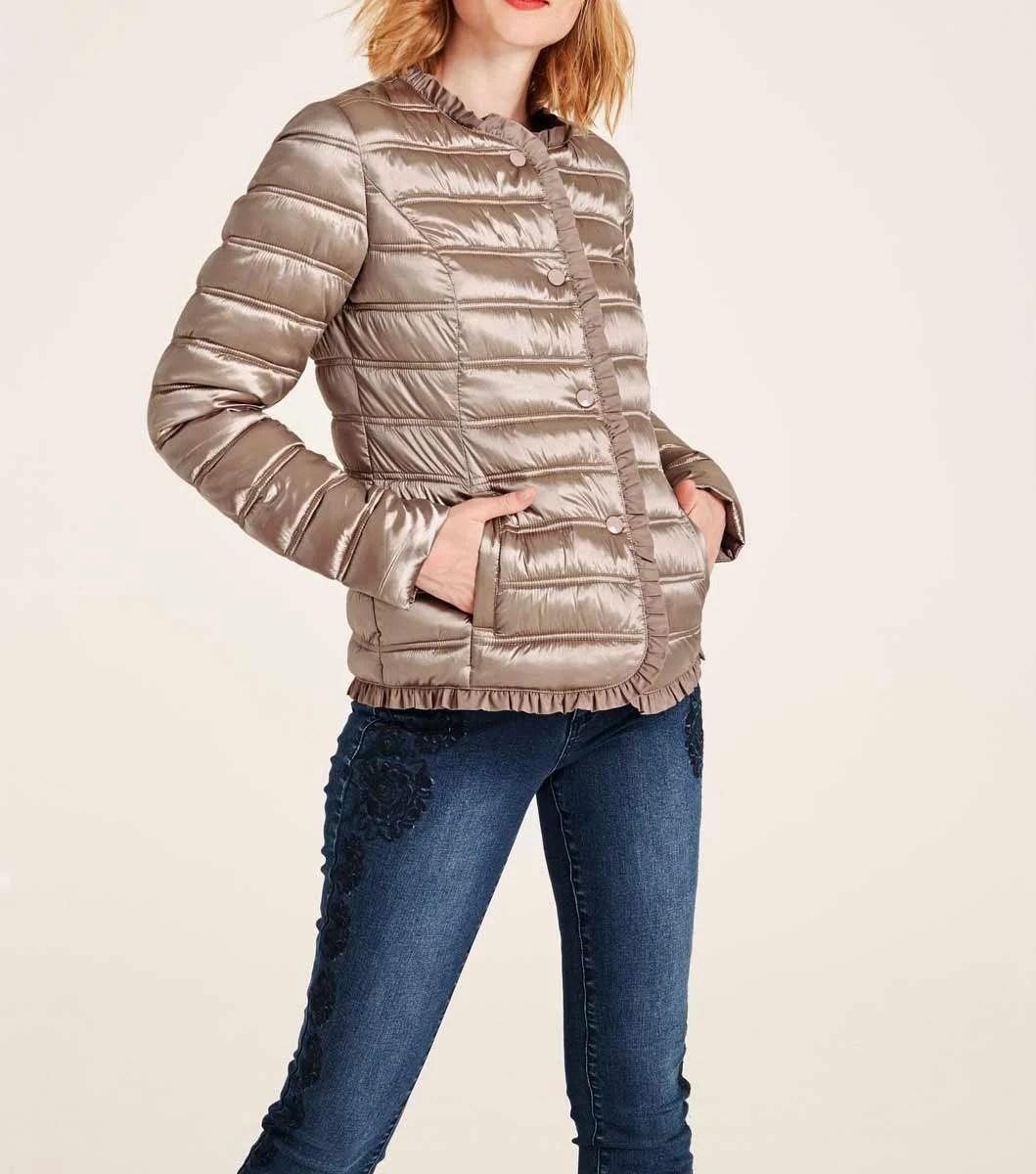 jacken auf rechnung bestellen als neukunde HEINE Damen Designer-Steppjacke Metallic Rosa Kurz Glänzend Rüschen Staubrosa 559.057 MISSFORTY
