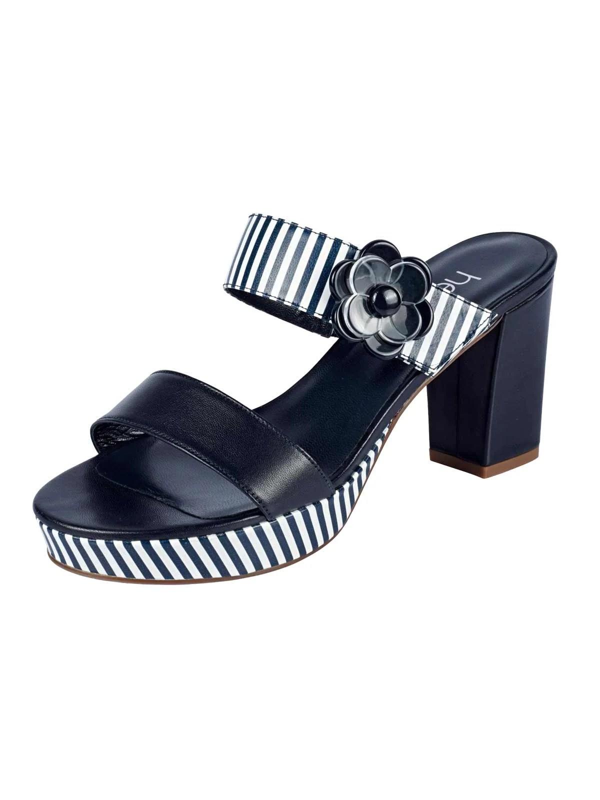 609.595 HEINE Damen Designer-Leder-Pantolette Marine-Weiß