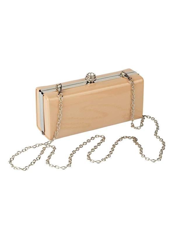 welche tasche zum abendkleid HEINE Damen Designer-Lack-Clutch Puder 651.025 Missforty