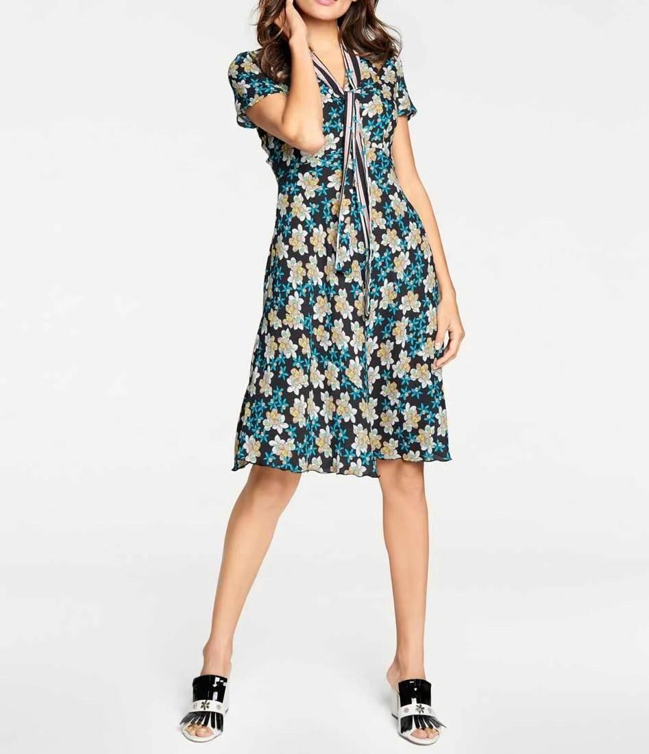 742.528 ASHLEY BROOKE Damen Designer-Druckkleid mit Schluppe Bunt