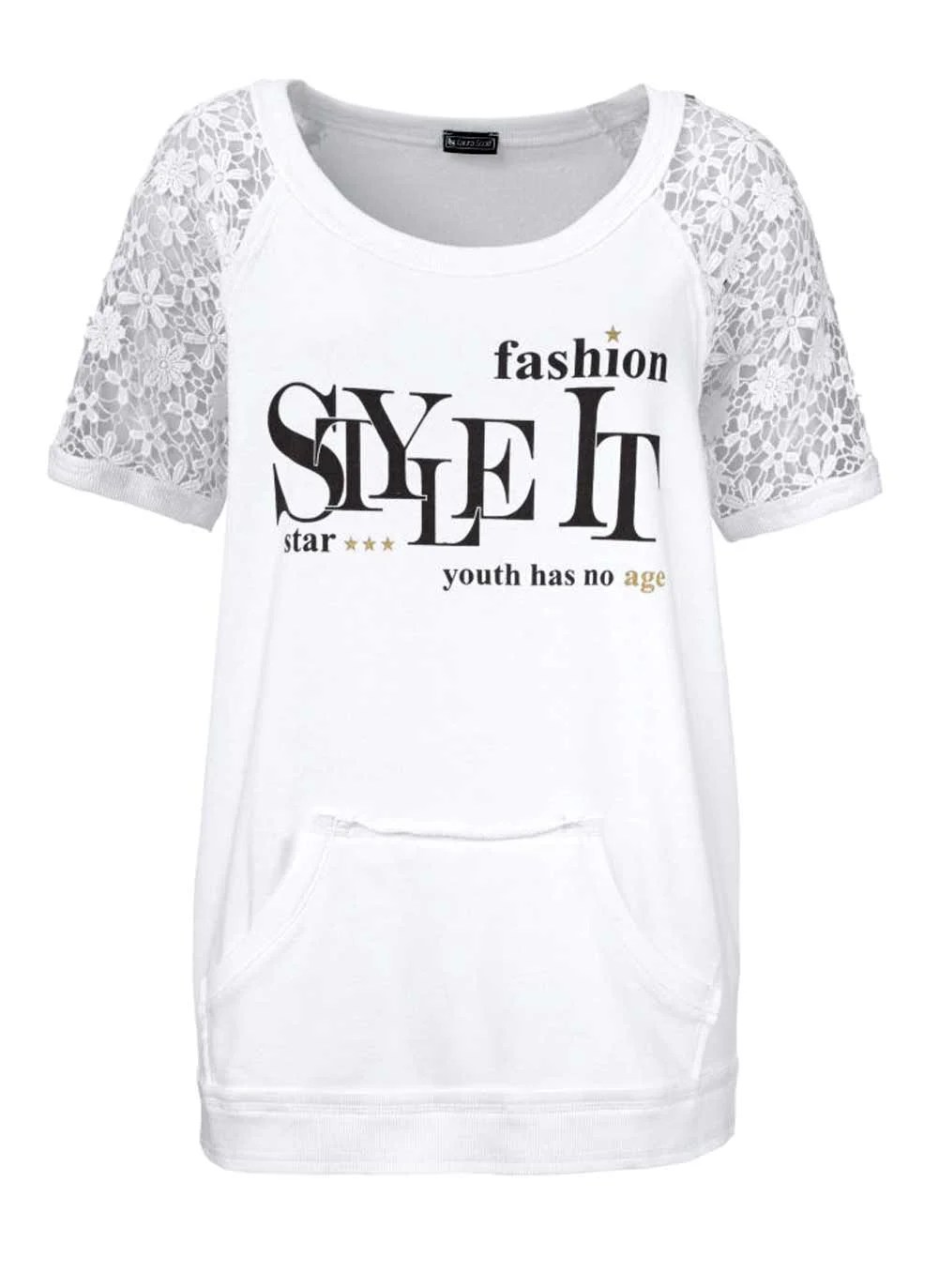 t shirts ohne ärmel LAURA SCOTT Damen-Sweatshirt m. Spitze Weiß 753.929 Missforty