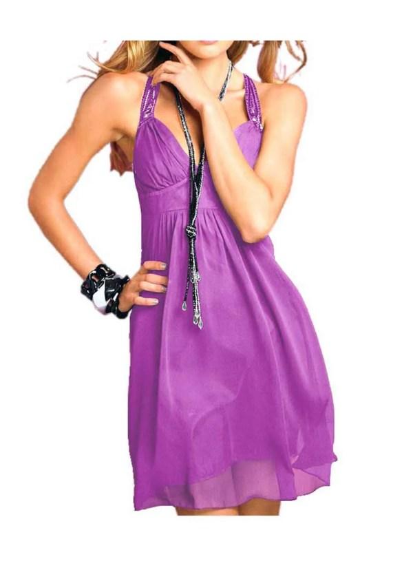 kurzes kleid für besondere anlässe Chiffon-Abendkleid mit Pailletten lila von LIPSY Grösse 44 779.210 Missforty
