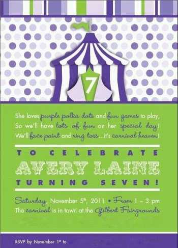 Purple Polka Dot Carnival Birthday Party Invitation | missfrugalfancypants.com