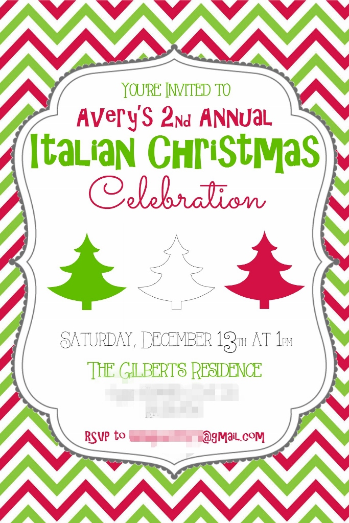 Italian Themed Christmas Celebration Invitation| missfrugalfancypants.com