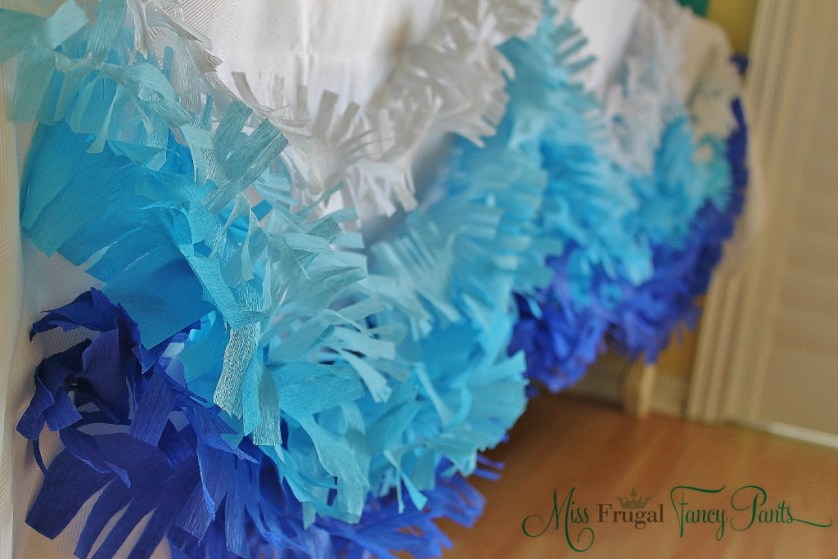 Little Mermaid Under the Sea 1st Birthday Party Decor with DIY Crepe Paper Waves | missfrugalfancypants.com