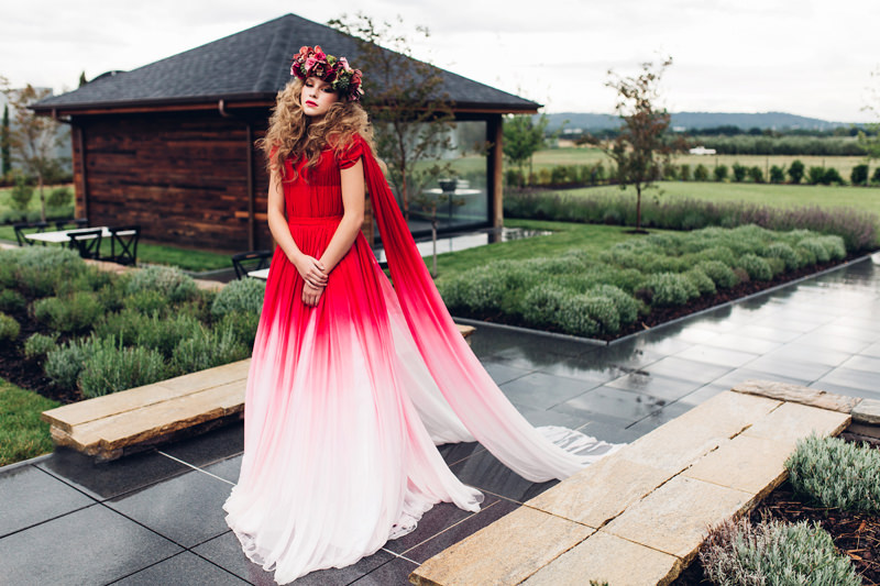 Elegant Red Ombre Wedding Dress & Gold Sparkly Wedding