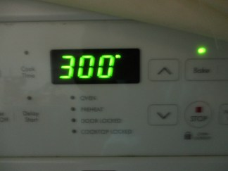 Pre-heat to 300 degrees Celsius