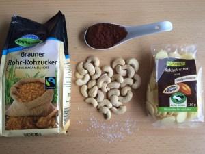 Zutaten selbst gemachte vegane Schokolade