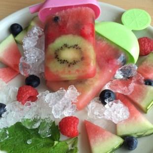 Eis Wassermelone Himbeeren fruchtig lecker