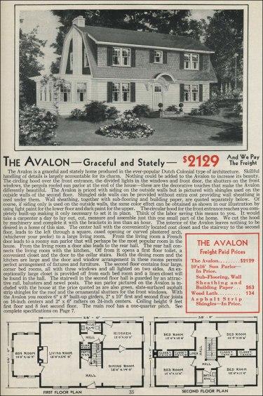 Американский дом: план, колониальный немецкий бунгало. 1931 год, компания Aladdin Company. Источник http://www.antiquehomestyle.com/