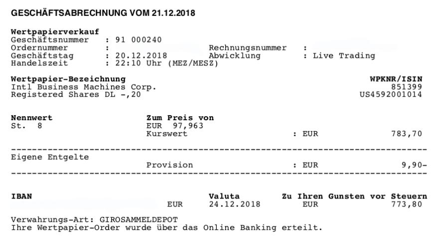 ETFs raus - Verkauf von IBM 20.12.2018