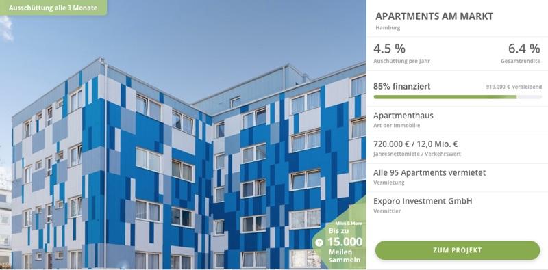 Exporo Bestand Beispiel 1 - In Immobilien investieren