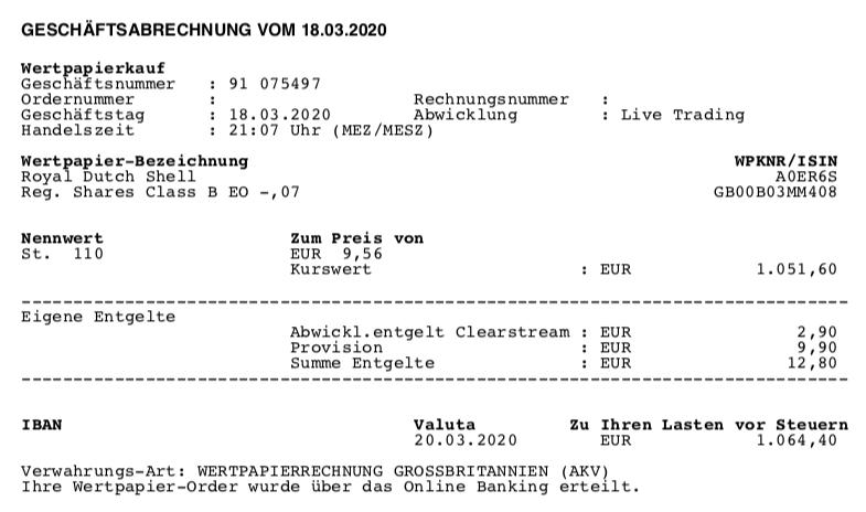 Kauf von Royal Dutch Shell - März 2020