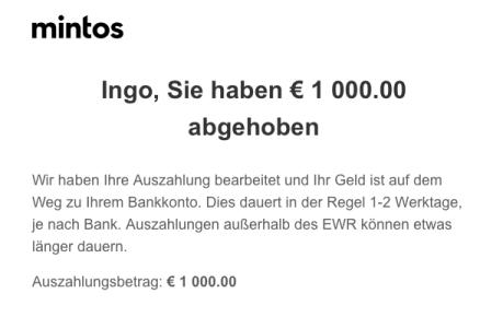 Mintos - Geld abgehoben