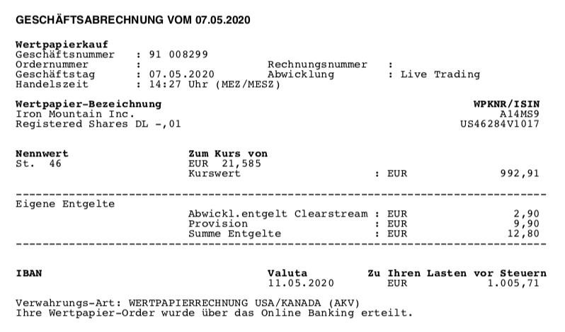 Kauf von Iron Mountain - Mai 2020