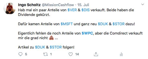 Twitter im Juli - Mission-Cashflow - Kauf von W. P. Carey