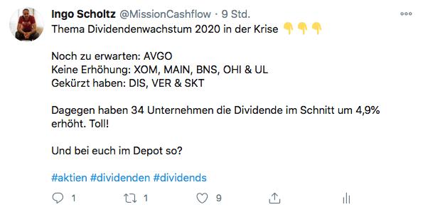 Twitter im Oktober - Mission-Cashflow - Passives Einkommen mit Dividenden v2
