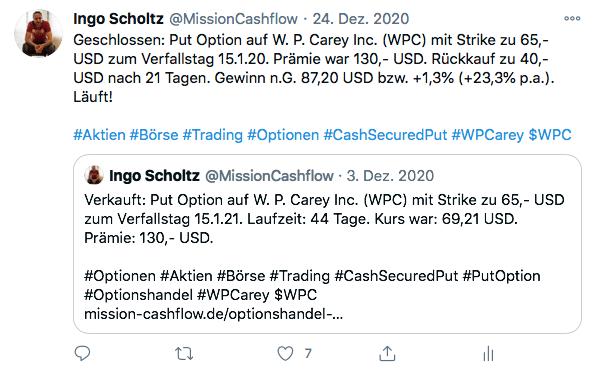 Twitter im Dezember - Mission-Cashflow - Einkommen durch den Optionshandel