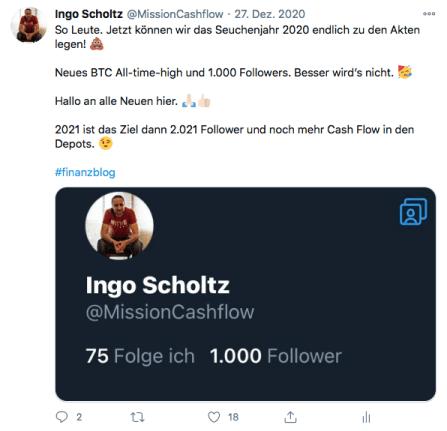 Ziele für 2021 - Twitter Dezember 2020
