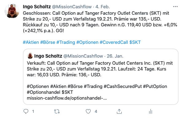 Twitter im Februar - Mission-Cashflow - Einkommen durch den Optionshandel