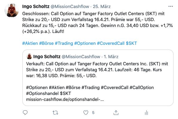 Twitter im März - Mission-Cashflow - Einkommen durch den Optionshandel