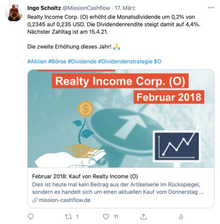 Twitter im März - Mission-Cashflow - Passives Einkommen mit Dividenden