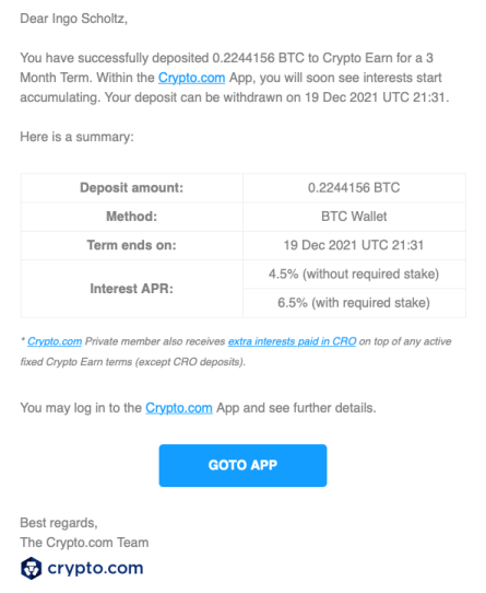 Crypto Earn Lending mit Crypto.com - Deposit Email