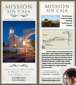 Mission Sin Caja Rack Card