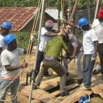 Water drilling team dig a new well.