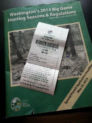 Deer Tag and Hunting Regulations for Washington State.