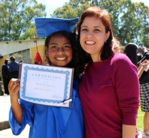 Sharie celebrating the graduation of one of our students from the orphanage