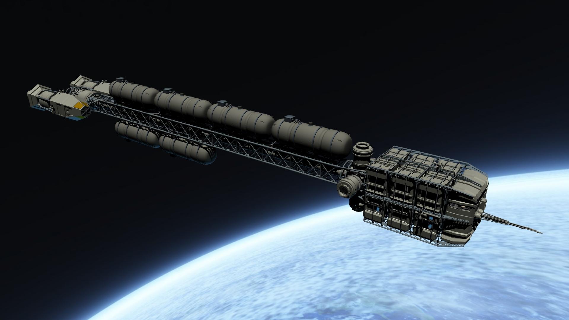 Space Cargo Ship Concept Art