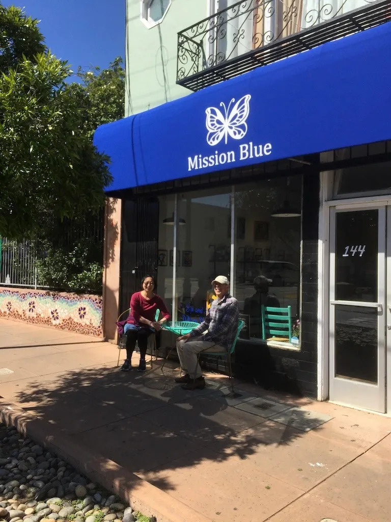 In front of Mission Blue