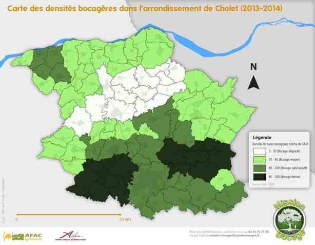 Carte densité réseau bocager arrondissement cholet