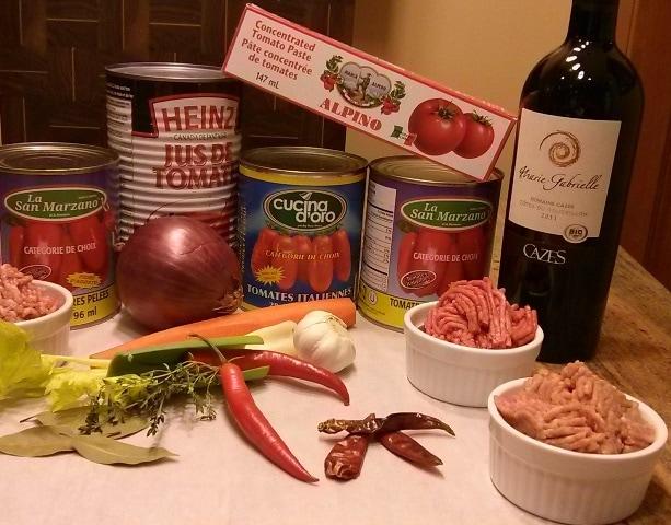 ingrédients bolognaise