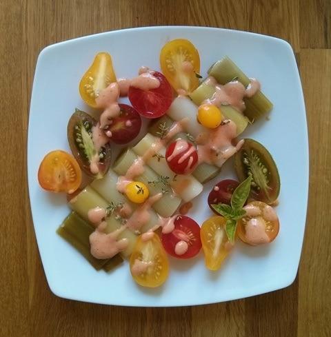 Poireaux vinaigrettes aux tomates