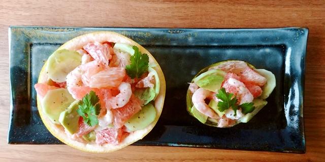 Idée pour l'apéro Pamplemousse rose et crevettes