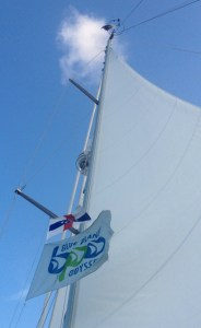 16. The bird on top of Joyful's mast could see the Netherland Antillies flag flying on the port spreader halyard in honor of Joyful's Dutchman, Ruud, while he was on board.  The BPO banner always will fly on this circumnavigation.
